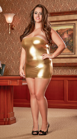 Plus Size Metallic Tube Chemsie and Thong