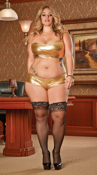 Plus Size Metallic Bandeau Bra and Shorts