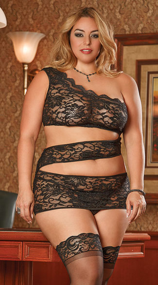 Plus Size Zigzag Lace Chemise with Cut Out Torso