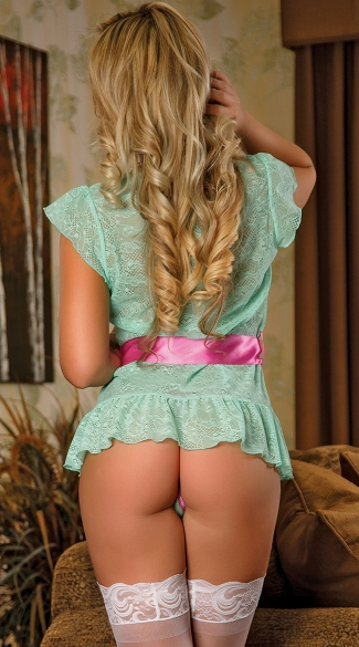 Plus Size Aqua Lace Robe and G-String