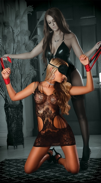 Lock Me Up Temptress Lace Dress Set, Sexy Cutout Dress With Restraints, Lace Bondage Lingerie Set