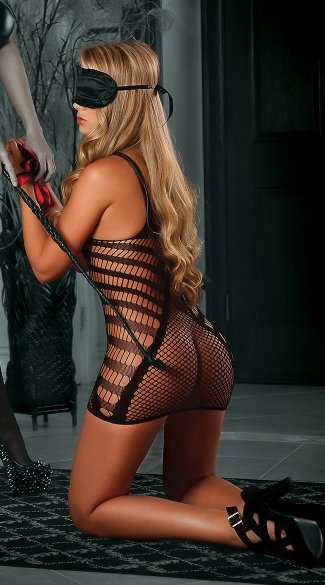 Be a Tease Net Dress Set, Sexy Submissive Black Dress Sets, Skin Tight Chemises With Wrist Restraints