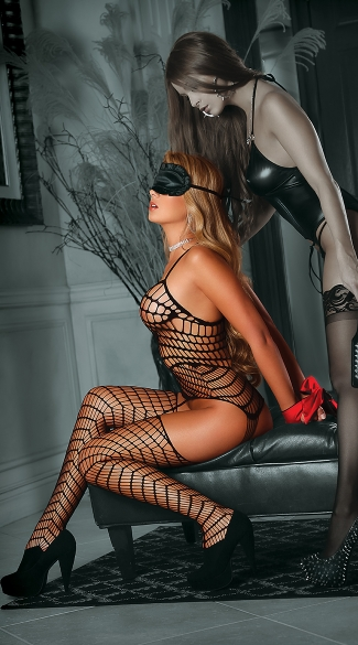 Plus Size All Tied Up Large Net Bodystocking Set