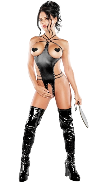 Medusa Faux Leather Cupless and Crotchless