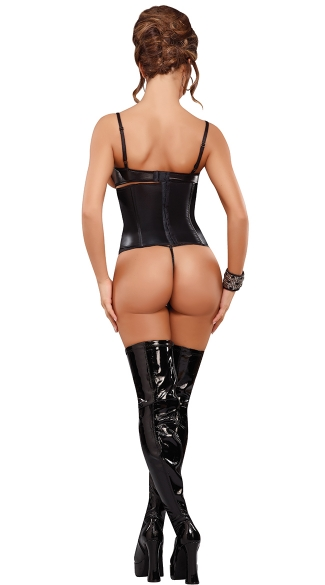 Vixen Faux Leather Cincher and Thong