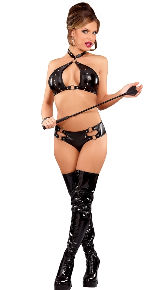 Plus Size Juno Faux Leather Halter Bra and Boyshort, Plus Size Leather Bra and Panty
