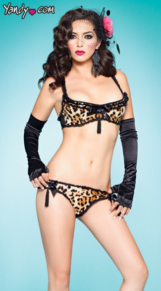 Meow Print Frisky Kitty, Leopard Print Bra Top Set