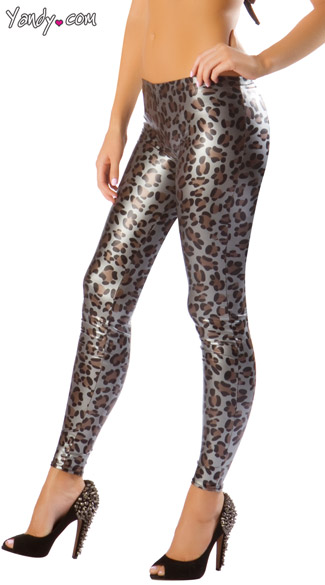 Metallic Leopard Leggings, Gray Cheetah Print Leggings, Animal Print Leggings