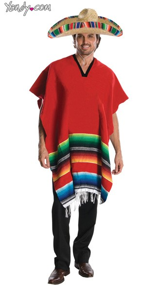 Mens Mexican Costume, Male Mexican Costume, Mexican Halloween Costume, Mexican Poncho Costume