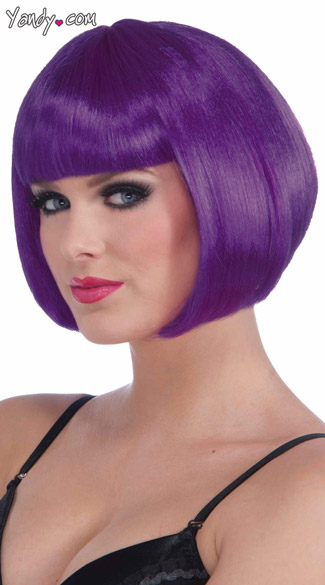 Neon Purple Bobbed Wig, Short Wig With Bangs, Short Purple Bob Wig