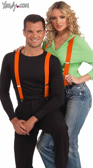 Neon Orange Suspenders, Neon Accessories, Suspenders, Neon Clothing