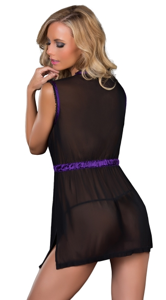 Mesh Front Tie Babydoll