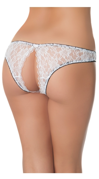 Cheeky Show Panty, Lace Backless Panty, Open Back Panty