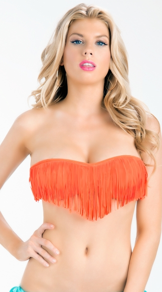 Back Tie Fringe Bandeau Bikini Top, Bathing Suits For Women, Bathing Suit Tops
