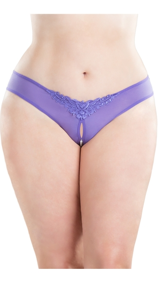 Plus Size Crotchless Pearl Thong