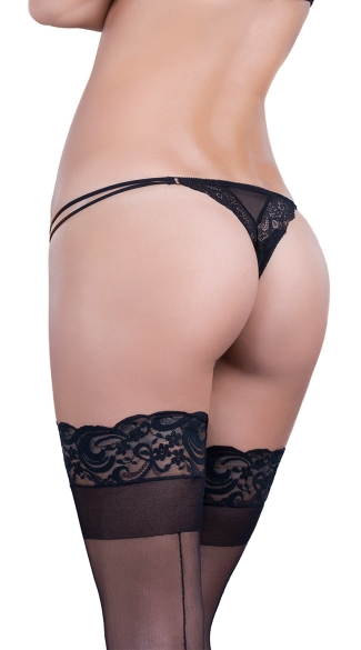 Quilted Lace Thong