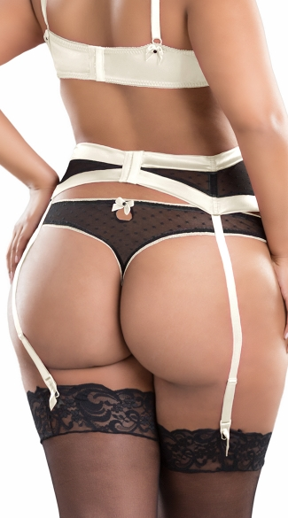 Plus Size White and Black Dot Mesh Thong
