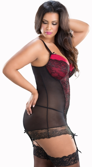Plus Size Mesh and Lace Chemise