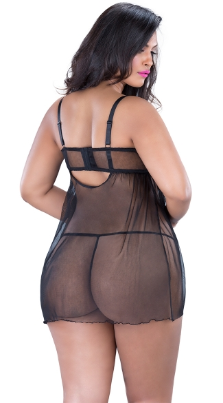 Plus Size Criss-Cross Mesh Babydoll