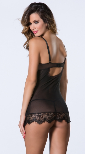 Eyelash Lace Chemise and G-String