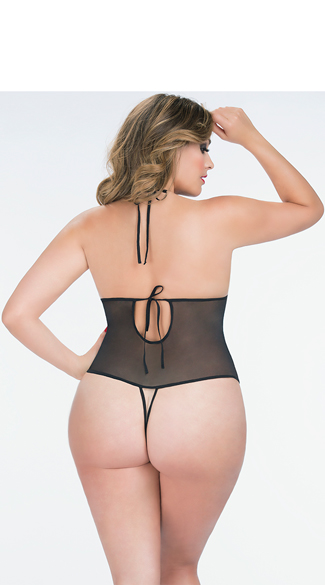 Plus Size Crotchless Lace Teddy with Rhinestones