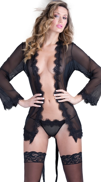 Sheer Eyelash Robe with Matching G-string