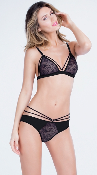 Lace Triangle Bra and Panty, Strappy Bra Set, Lace Bra and Panty Set