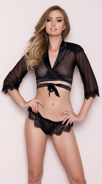 Cropped Eyelash Lace Robe Set, black robe set - Yandy.com
