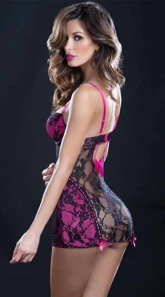 Lady In Pink and Black Lace Chemise with G-String