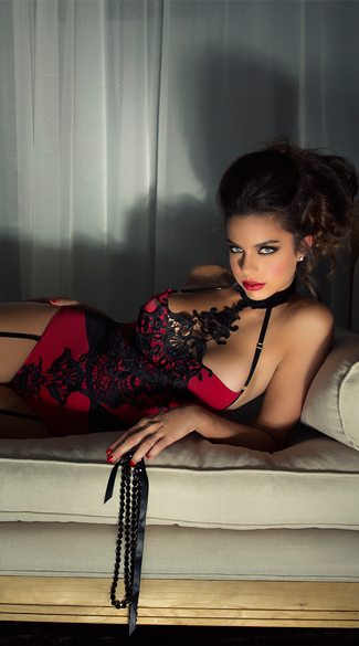 Venice Lace Teddy with Garters
