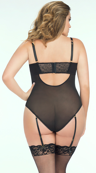 Plus Size Mesh and Net Teddy with Zipper
