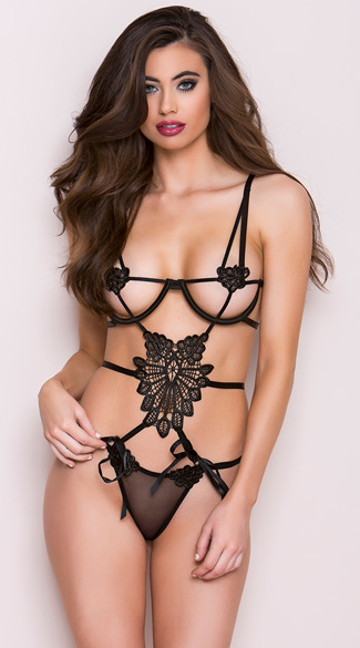 Open Cup Venice Lace Teddy, Strappy Black Teddy, Venice Lace Teddy