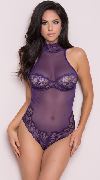 Mesh and Lace Grape Teddy, purple teddy - Yandy.com