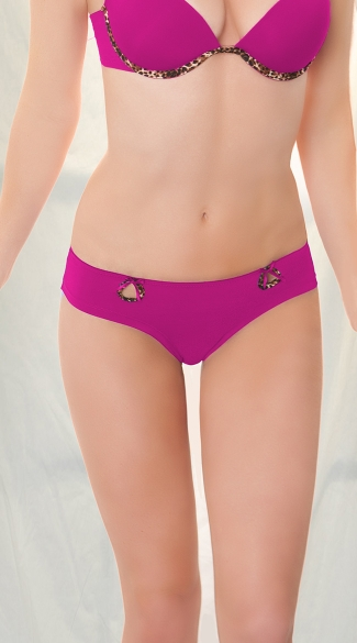Rouched Back Leopard Trim Tanga