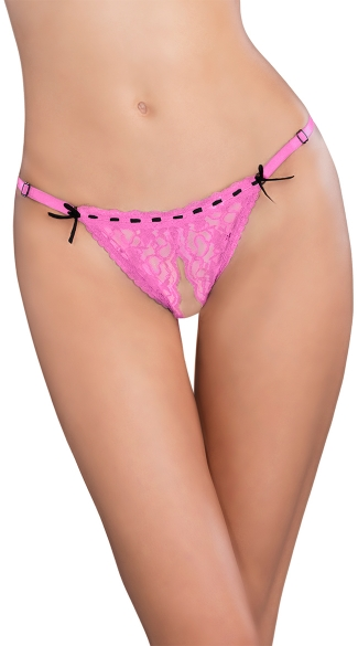 Crotchless Lace Thong with Ribbon Detail, Lace Thong with Open Crotch