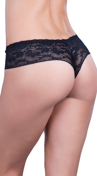 Crotchless Lace Thong with Dangle Charm