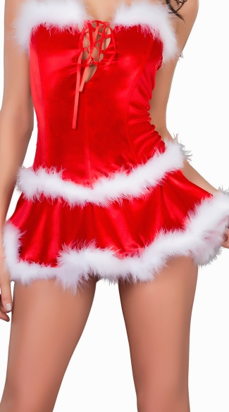 Santa Skirt with Marabou Trim