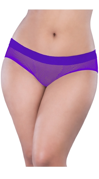 Plus Size Netted Open Back Hipster Panty