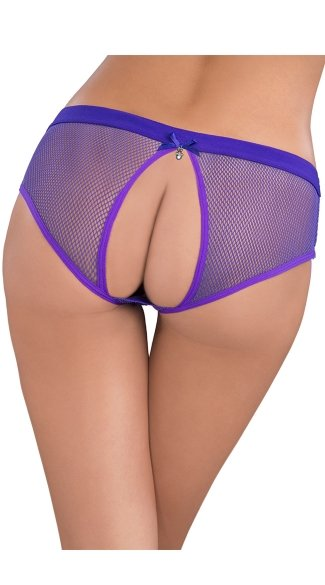 Netted Open Back Hipster Panty, Open Back Underwear, Fishnet Panty with Open Backside