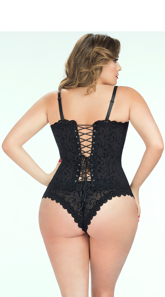 Plus Size Velvet Embossed Corset with Panty