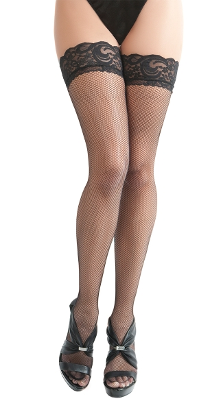 Mini Net Lace Top Stockings with Backseam