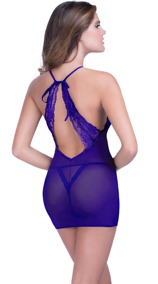 Lace Halter Chemise with Thong