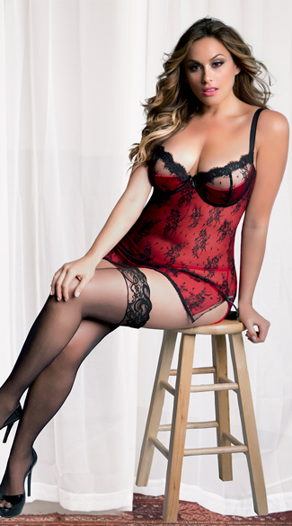 Plus Size Satin and Lace Chemise with G-String