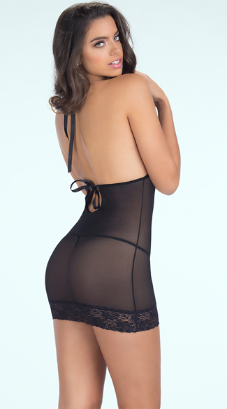 Lace Cup Halter Chemise and G-String, Open Cup Lingerie, Sheer Black Chemise
