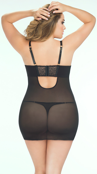 Plus Size Zipper Front Chemise with Panty