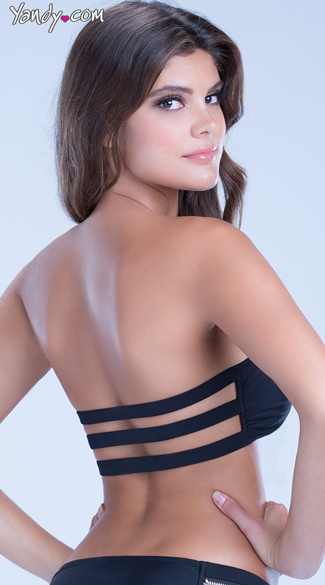 Zipper Front Swimsuit Bandeau Top