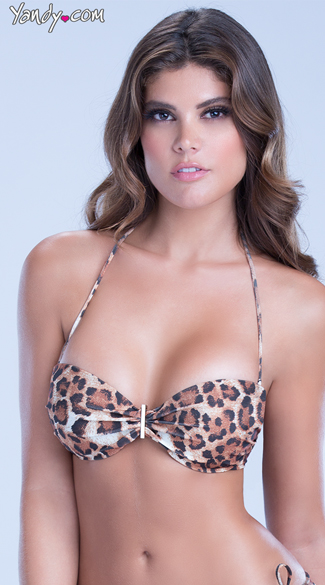 Leopard Bandeau Swim Top, Cheetah Print Swimwear, Sexy Animal Print Bikini Tops
