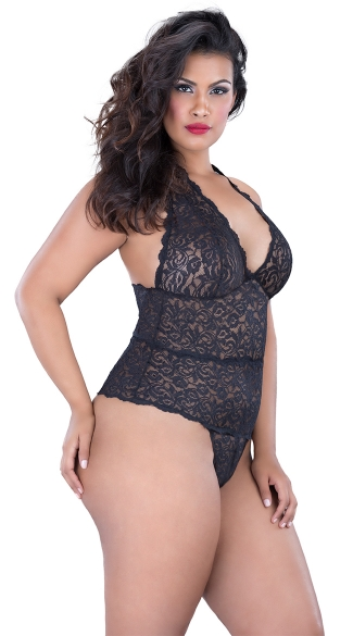 Plus Size Lace Halter Teddy