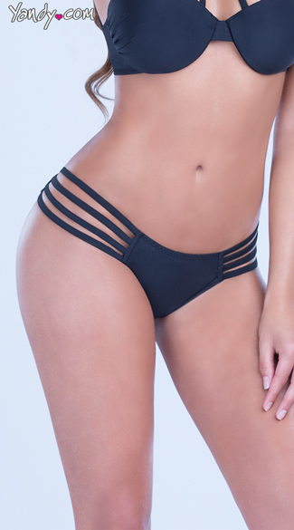 Side Strap Bikini Bottom, Sexy Low Rise Black Bottoms, Classic Black Swimsuit Bottoms