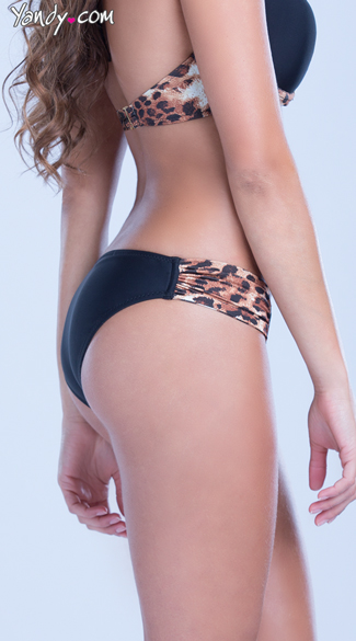 Leopard Bikini Bottom With Ruched Sides